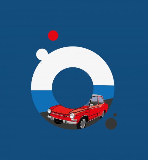 illustratie tekening auto blog logo