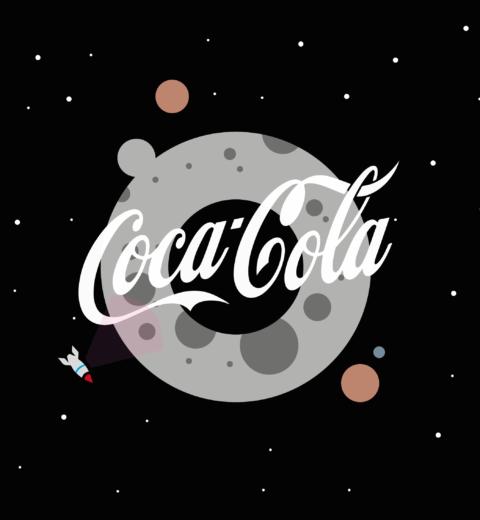 Coca-Cola Logo op de maan